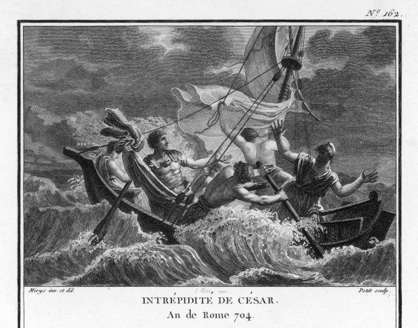 Julius Caesar, sailing from Marseille to Epirus in northern Greece, behaves with great courage during a storm at sea