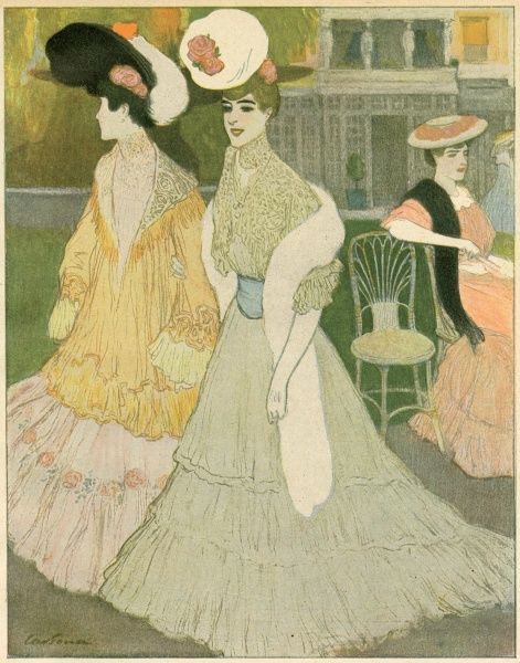 Paris fashions: bell shaped skirt with gathered flounces, broad belt, lace high-necked blouse, fur stole & hat tilted forwards; an embroidered jacket with shawl collar