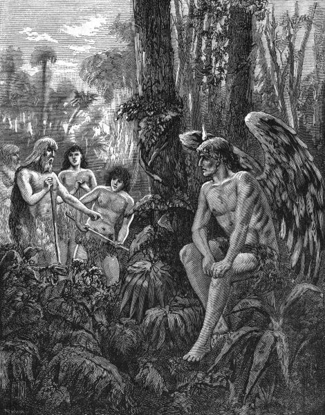 Cain, watched by the superior soul of the Angel of Light, Eblis, teaches the children of the Earth how to cultivate the forest