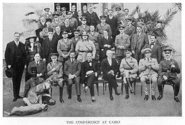The Conference at Cairo to discuss Mesopotamia (Iraq) in 1921 attended by Winston Churchill, King Faisal of Iraq, Sir Percy Cox, Gertrude Bell