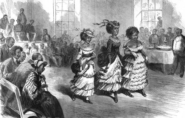 Three finely dressed black ladies perform the cake walk before an enthusiastic audience at Richmond, Virginia. Date: 1871