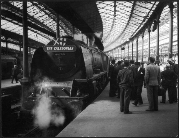 'The Caledonian' steam express locomotive which ran from Glasgow to London, photographed here at Euston station. It set up post war record of 6 hours, June 1957