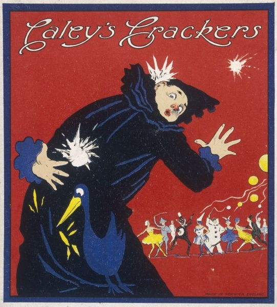 Bold and colourful design for Christmas cracker box label featuring a fancy dress party and a clown in the foreground who is being pelted by a snowball