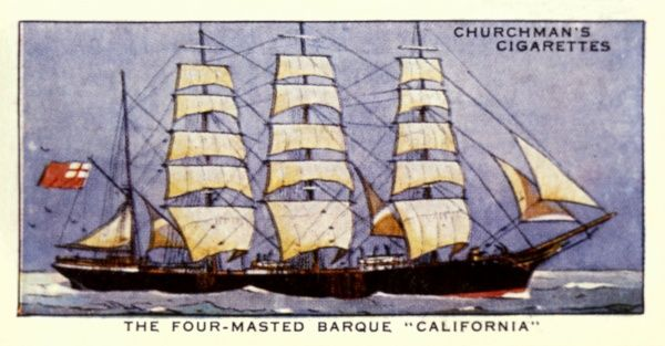 Four-masted barque of the White Star Line. Date: 1890