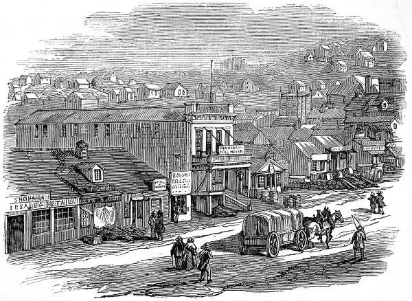Early engraving of thoroughfare in San Francisco, showing shops and warehouses