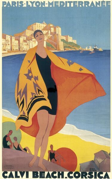 Sumptuous and colourful beach scene advertising the Corsican resort of Calvi, showing a 1920s lady in her bathing suit against beach and town