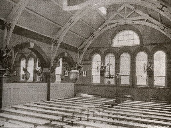 The dining hall of the Camberwell workhouse opened in 1895 on Constance Road, East Dulwich, south London. The building was designed by Thomas Aldwinckle. From 1930, it was known as St Francis Hospital then later became Dulwich Hospital North Wing