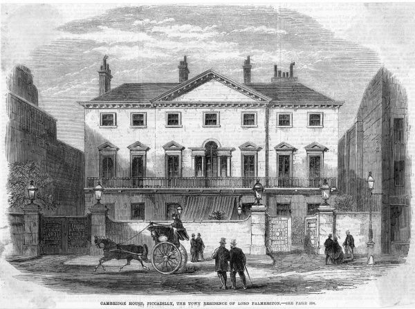 A hansom cab trots past Cambridge House, Piccadilly, London, the town residence of Lord Palmerston