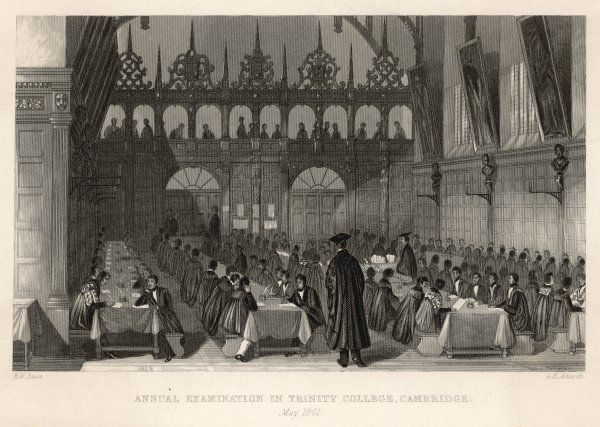 'Annual examination at Trinity College, Cambridge' - evidently in the College Hall