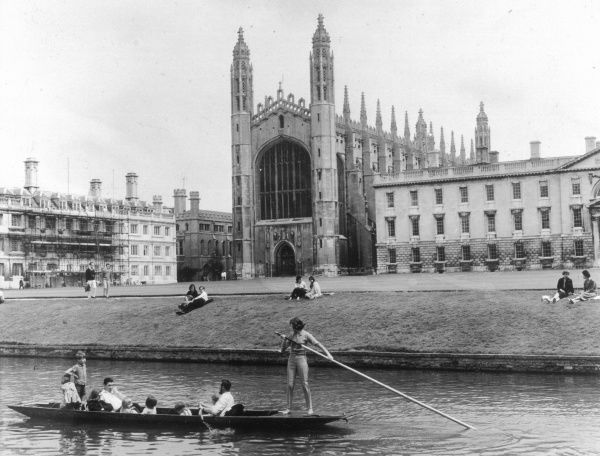 "Punting on the ""backs""; King's Chapel in the background"