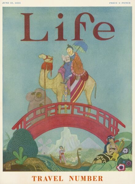 A woman reads her guide book on the back of a camel. She crosses a Chinese bridge, watched by an eskimo, a gondolier and a Tahitian singer