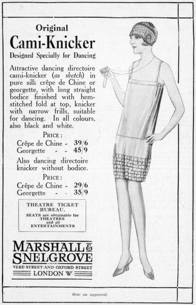 'Designed Specially for Dancing', cami-knickers (camisole + knickers) were just what the dance-crazy Bright Young Thing of the twenties needed