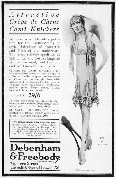 Advertisement for crepe de chine cami knickers; model also wears a shingled lace bonnet with long streamers