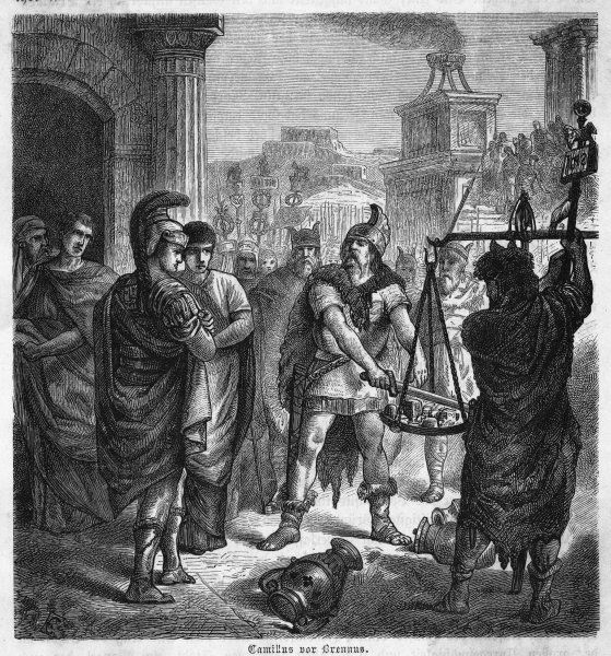 Brennus, captor of Rome, barg- aining for ransom, throws his sword in the scales saying 'Vae victis' (Woe to the defeated). But Camillus is able to save Rome