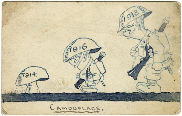 Humorous postcard by amateur soldier artist of the Great War, George Ranstead, showing the evolution of an almost fully-grown infantry soldier by the end of the war, his helmet mimicking the shape of the mushroom