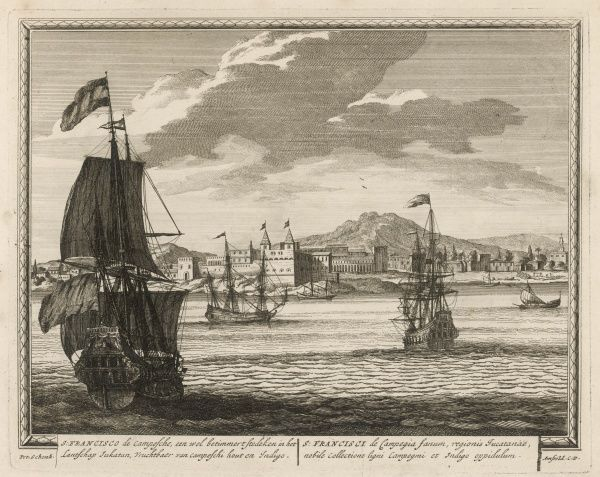 Spanish vessels in the roadstead of Campeche (then known as San Francisco de Campesche), in Yucatan