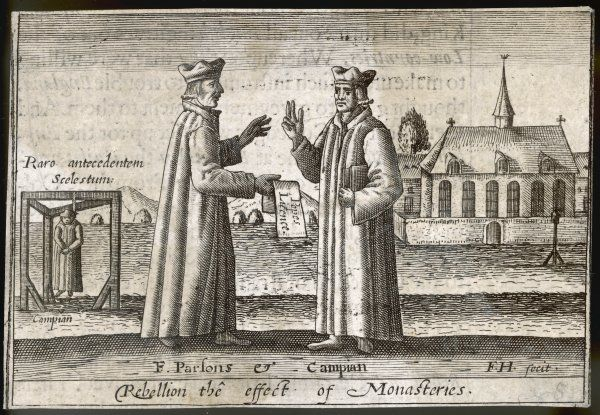 Edmund Campion (1540-1581) suspected of papist leanings, hanged at Tyburn, shown with fellow Jesuit Robert Parsons whose mission was to reclaim England for catholicism