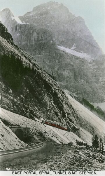 Canada - East Portal of Spiral Tunnel & Mount Stephen. The tunnel opened in 1909. Date: circa 1920s