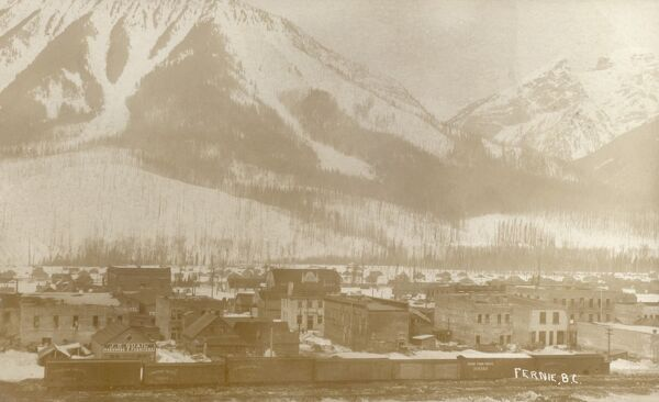 Fernie - a city in the Elk Valley area of the East Kootenay region of southeastern British Columbia, Canada. A centre for coal mining since the late 19th century. Date: circa 1920s