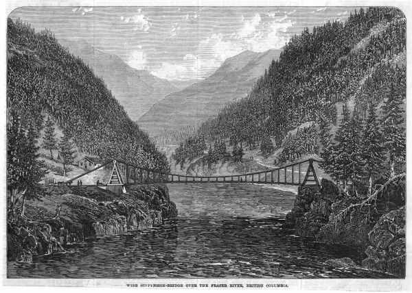 The wire suspension bridge over the Frazer (or Fraser) river, British Columbia