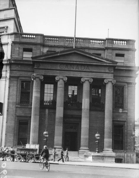 The exterior of Canada House, Trafalgar Square, central London, which is now a cultural centre promoting Canadian music, films and visual arts etc