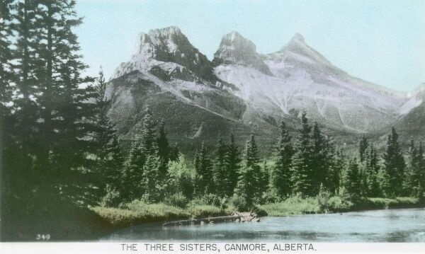 Canada - The Three Sisters, Canmore, Alberta. Called 'Big', 'Middle' and 'Little' sister! - the Bow River is pictures flowing below