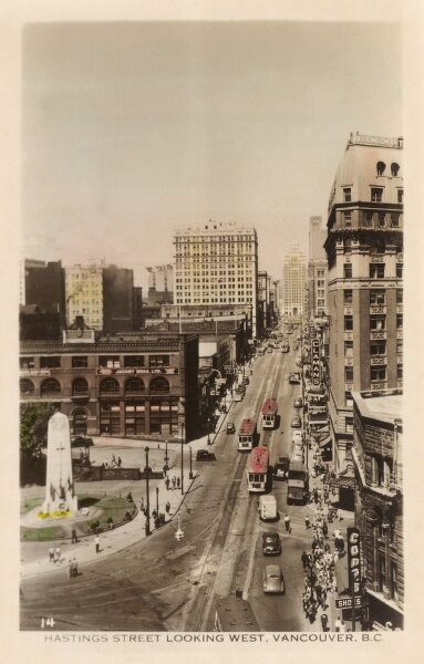Canada - British Columbia - Vancouver - Hastings Street looking west Date: circa 1920s