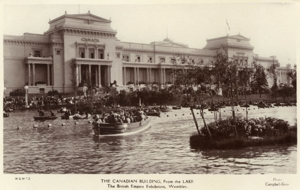 View of the Canadian Building from the lake at the British Empire Exhibition, held at Wembley between April and October 1924. Date: 1924