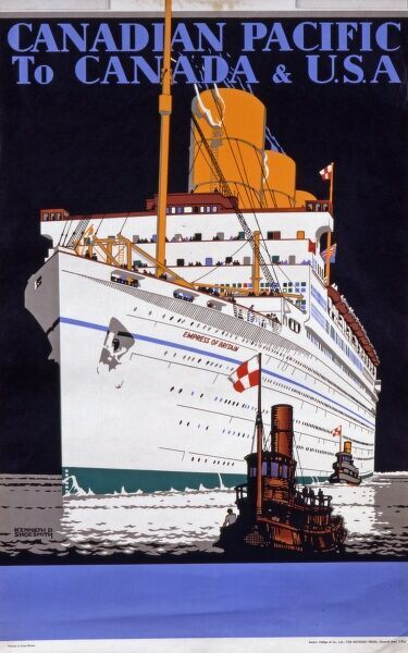 Canadian Pacific Poster advertising travel on the Empress of Britain cruise ship to Canada and the USA