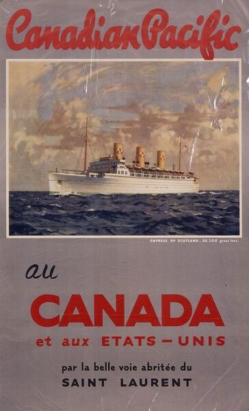 Poster advertising the Canadian Pacific shipping line serving Canada and the United Kingdom