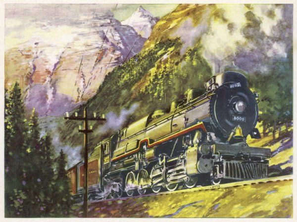 A Canadian Pacific 2-10-4 locomotive hauls 'The Dominion' transcontinental express