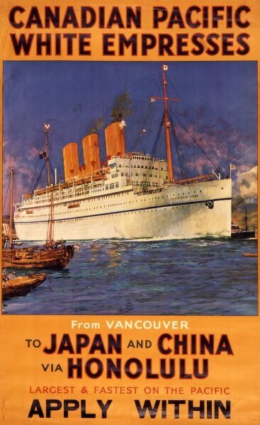 The Empress of Japan Canadian Pacific ocean liner, the fastest trans-pacific steamship of its time, sailing from Vancouver to Japan and China via Honolulu