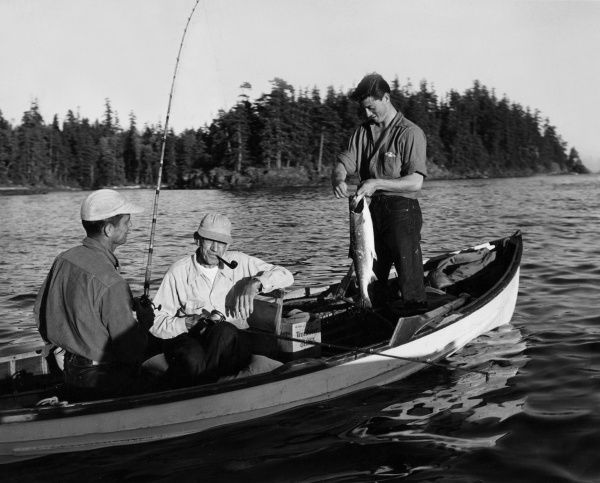 Anglers take thousands of salmon each season from the Nova Scotia waters, Canada. Date: 1950s