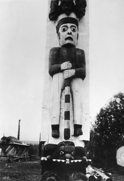 A Candian totem pole. Date: 1930s