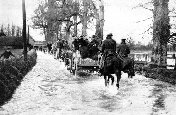 Canadian transport in a flooded road at Larkhill