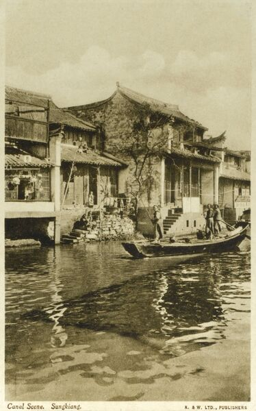 Songjiang District of Shanghai - a Canal scene, China Date: circa 1920