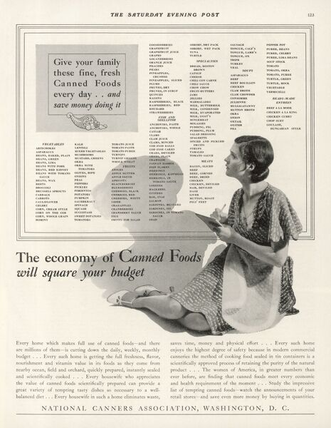'Give your family these fine, fresh (sic !) Canned Foods everyday...' (published by, you've guessed it, the National Canners Association)