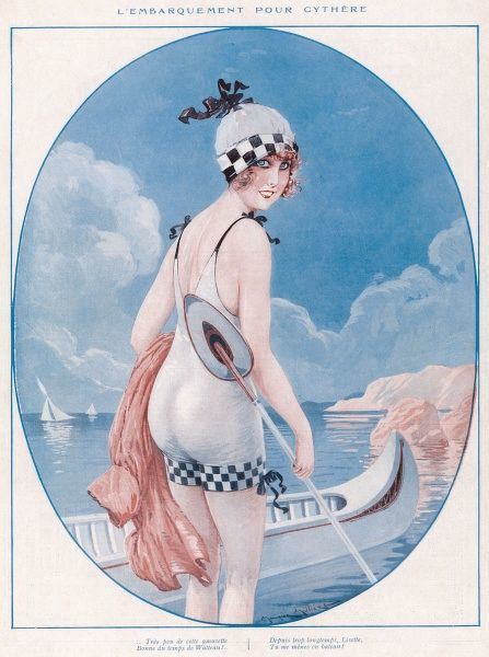Girl in her one-piece swimming costume & bathing cap with checker board trim going off for a paddle