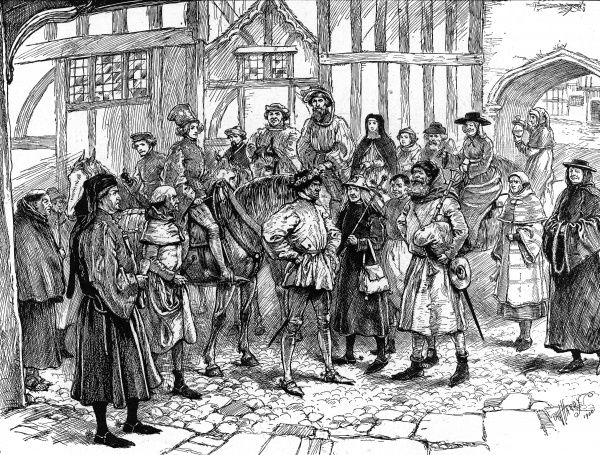 Illustration giving an artist's impression of how Chaucer's Canterbury Pilgrims may have looked as they stood in the yard of the Tabard Inn, 17th April 1387. Only nineteen out of Chaucer's thirty-two pilgrims are pictured in this image