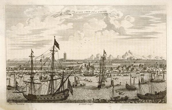 A view of the city possibly from a craft in the Pearl River showing the busy port. An 18th century engraving from a 17th century original