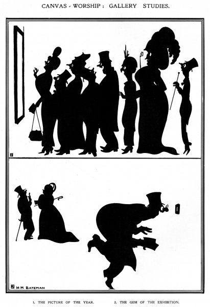 Unusual silhouette cartoon by H. M. Bateman showing a crowd at an art exhibition. Date: 1913