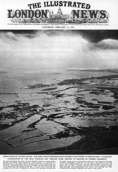 An aerial photograph taken over South Benfleet, looking in a south-westerly direction over Canvey Island: the desolation caused by floods