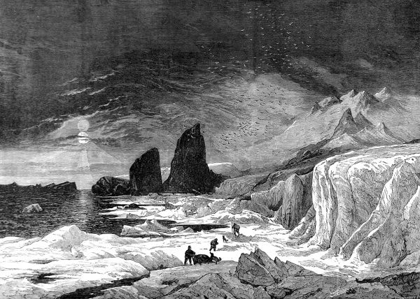 Engraving showing the Cape of Pillars, on the coast of Crown Prince Rudolf Land, as seen by the Austro-Hungarian North Pole Expedition of 1872-1874. In the foreground is a sledging team from this expedition