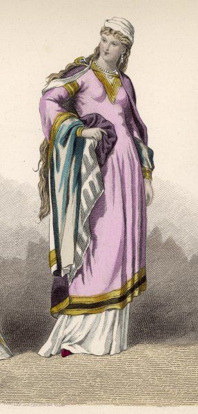 A noblewoman : note the hair worn long and loose
