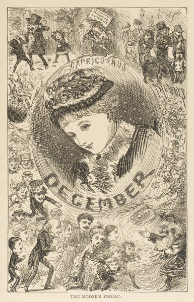 The Modern Zodiac: An Artist's Almanac of English Society. Scenes of the month include snowballing, waits singing carols, pantomime characters, relations, gifts & parties