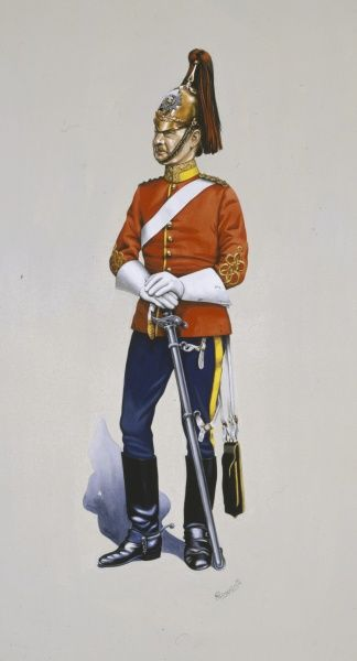 Captain of the 3rd (Prince Wales's) Dragoon Guards. Wearing Full Dress for Levees with undress Shoulder belt, sword belt and sword knot. Painting by Malcolm Greensmith