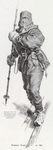 Impression of Captain Robert Falcon Scott, leader of the ill-fated expedition to reach the South Pole in 1912, wrapped up in his kit and skiing