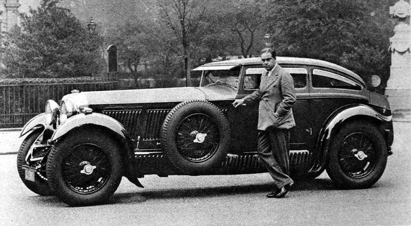 Captain Woolf Barnato with his 'Speed Six' Bentley fitted with a racing body. Woolf Barnato had just beaten the 'Blue Train' from Monte Carlo to Calais in this (or similar) car. This body is only one if its kind, built by Gurney Nutting