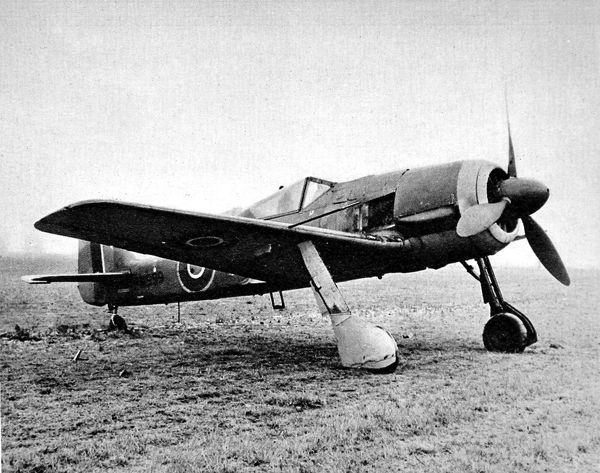 Photograph showing a captured German Focke-Wulf 190 fighter-bomber aeroplane, painted in Royal Air Force markings, 1944