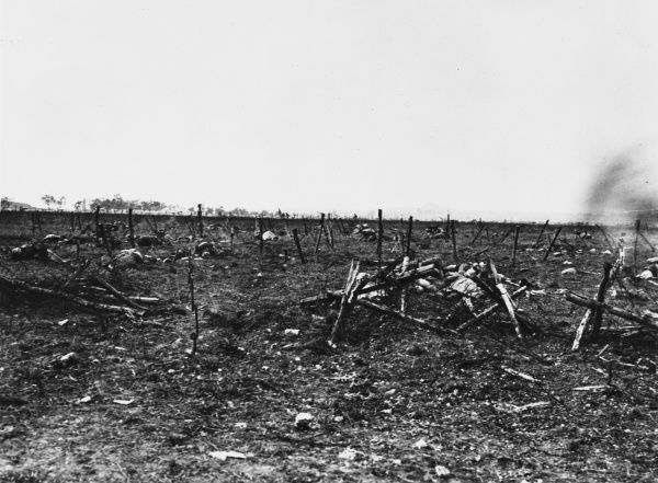 Captured German trench seen from a machine gun emplacement near Loos on the Western Front in France during World War I on 28th September 1915